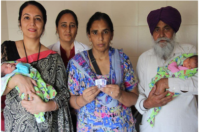 dr vijaydeep kaur with 50 years old mother of twins